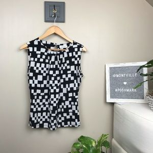Calvin Klein Black & White Print Sleeveless Top